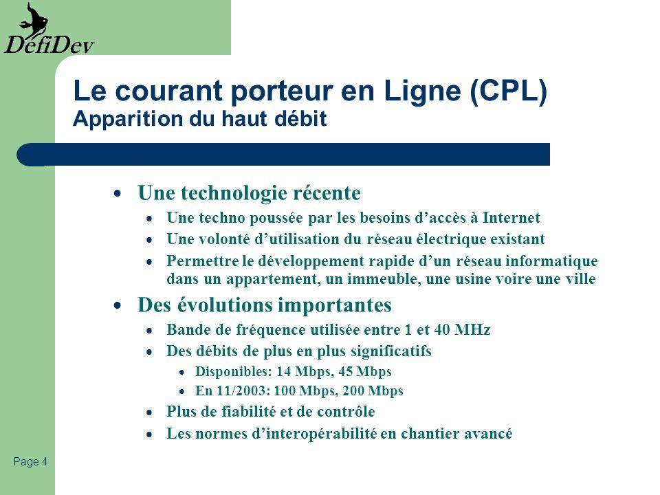 Page 4 Le courant porteur en Ligne (CPL) Apparition du haut débit Une technologie récente Une techno poussée par les besoins daccès à Internet Une vol