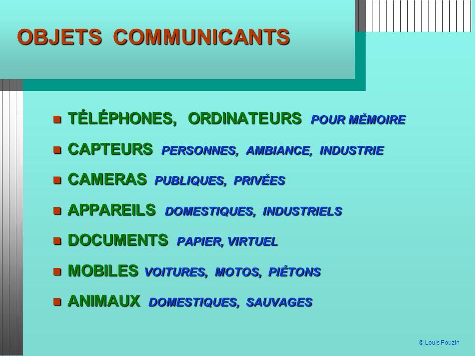 © Louis Pouzin OBJETS COMMUNICANTS TÉLÉPHONES, ORDINATEURS POUR MÉMOIRE TÉLÉPHONES, ORDINATEURS POUR MÉMOIRE CAPTEURS PERSONNES, AMBIANCE, INDUSTRIE C