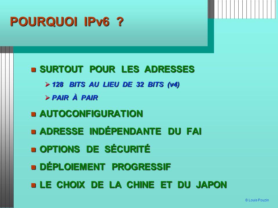 © Louis Pouzin POURQUOI IPv6 ? SURTOUT POUR LES ADRESSES SURTOUT POUR LES ADRESSES 128 BITS AU LIEU DE 32 BITS (v4) 128 BITS AU LIEU DE 32 BITS (v4) P