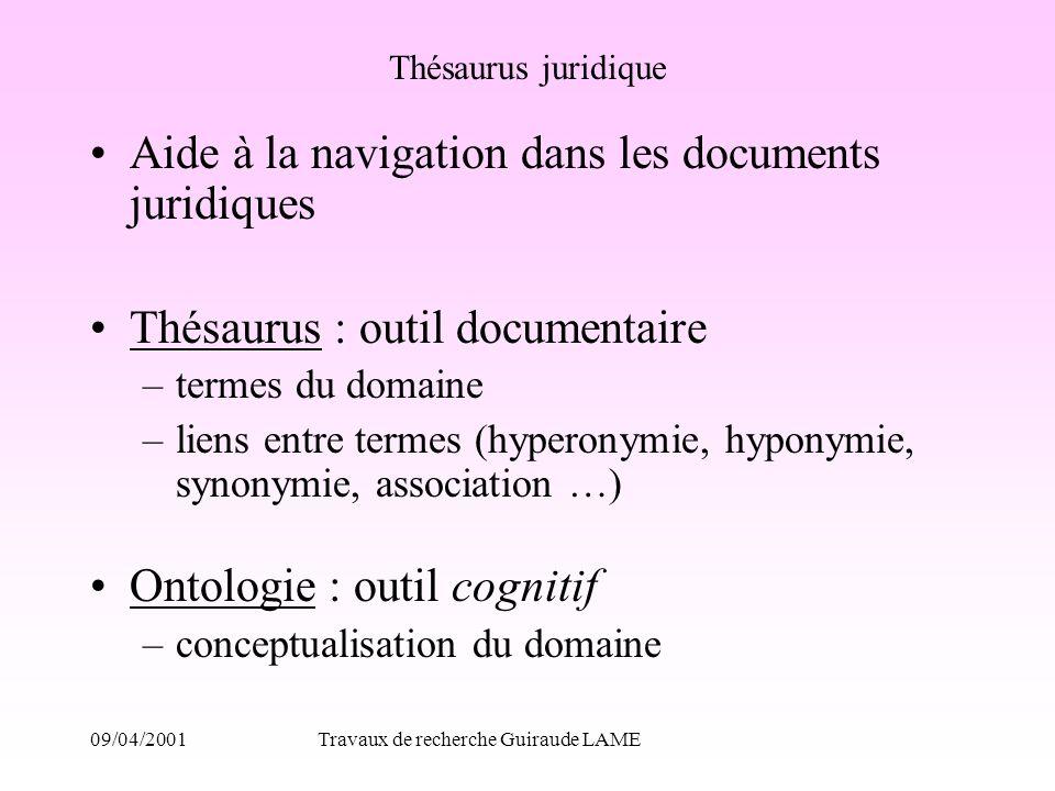 09/04/2001Travaux de recherche Guiraude LAME Thésaurus juridique Aide à la navigation dans les documents juridiques Thésaurus : outil documentaire –te