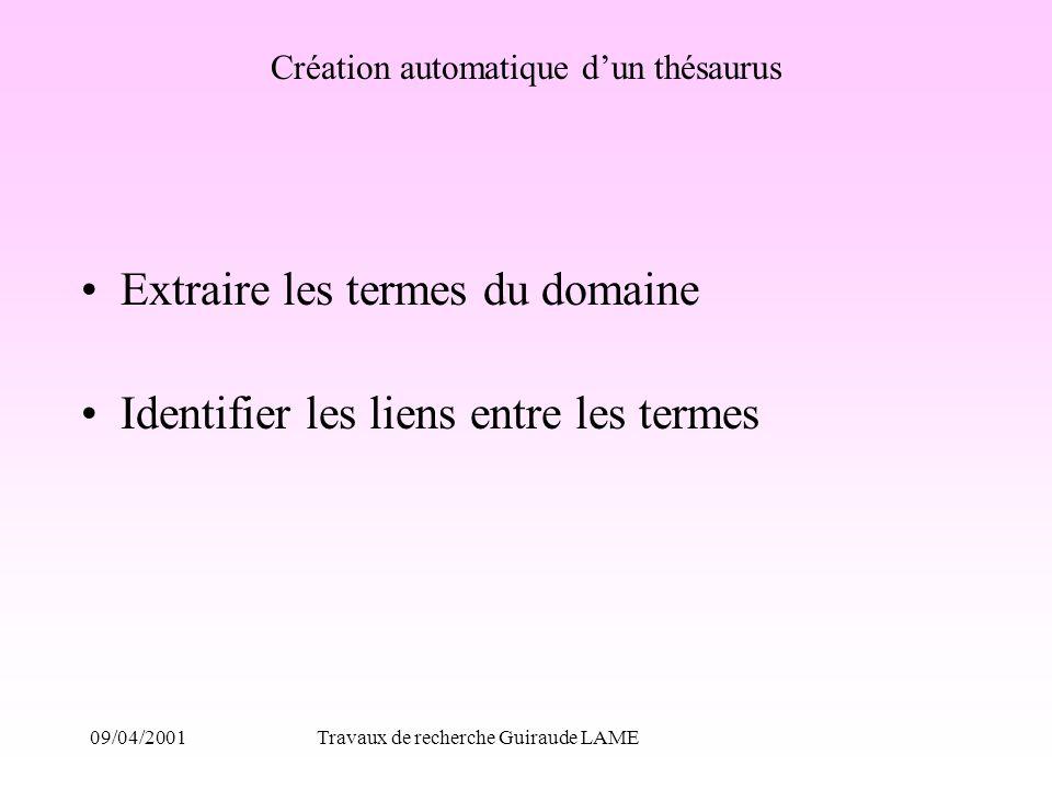 09/04/2001Travaux de recherche Guiraude LAME Création automatique dun thésaurus Extraire les termes du domaine Identifier les liens entre les termes