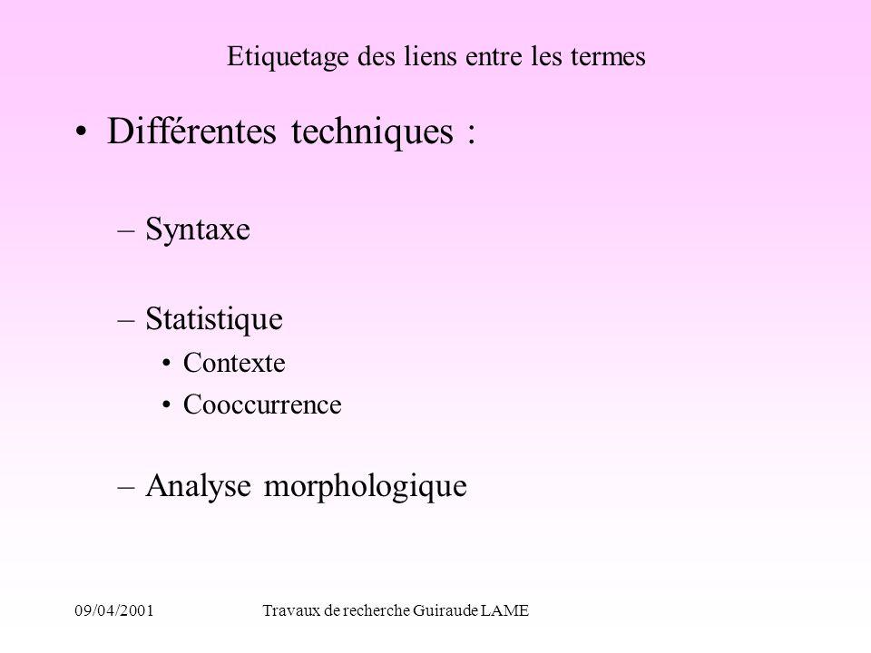 09/04/2001Travaux de recherche Guiraude LAME Etiquetage des liens entre les termes Différentes techniques : –Syntaxe –Statistique Contexte Cooccurrenc
