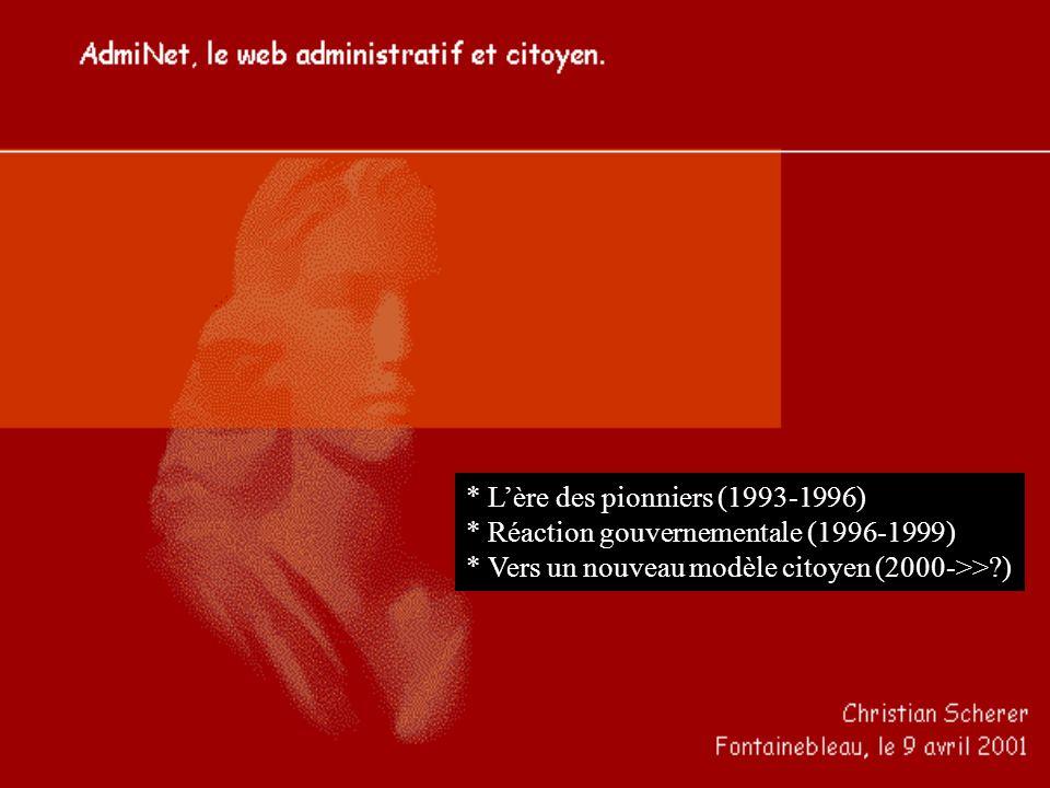 * Lère des pionniers (1993-1996) * Réaction gouvernementale (1996-1999) * Vers un nouveau modèle citoyen (2000->> )