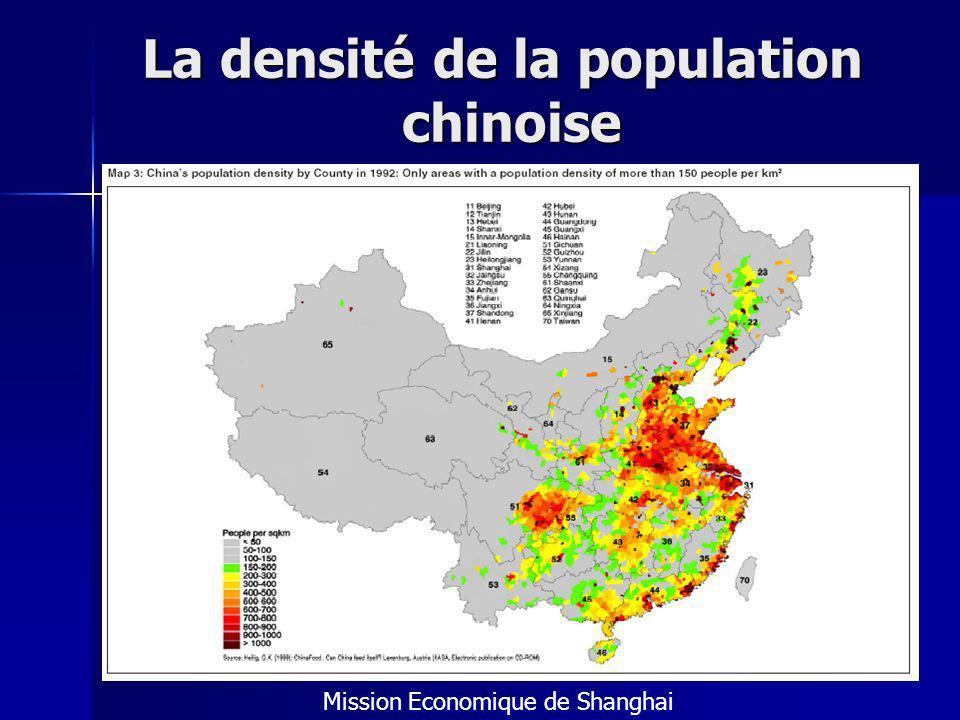 La densité de la population chinoise Mission Economique de Shanghai
