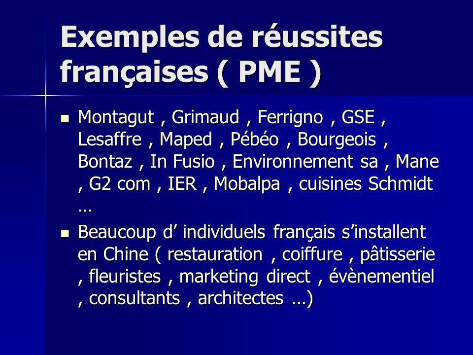 Exemples de réussites françaises ( PME ) Montagut, Grimaud, Ferrigno, GSE, Lesaffre, Maped, Pébéo, Bourgeois, Bontaz, In Fusio, Environnement sa, Mane, G2 com, IER, Mobalpa, cuisines Schmidt … Montagut, Grimaud, Ferrigno, GSE, Lesaffre, Maped, Pébéo, Bourgeois, Bontaz, In Fusio, Environnement sa, Mane, G2 com, IER, Mobalpa, cuisines Schmidt … Beaucoup d individuels français sinstallent en Chine ( restauration, coiffure, pâtisserie, fleuristes, marketing direct, évènementiel, consultants, architectes …) Beaucoup d individuels français sinstallent en Chine ( restauration, coiffure, pâtisserie, fleuristes, marketing direct, évènementiel, consultants, architectes …)
