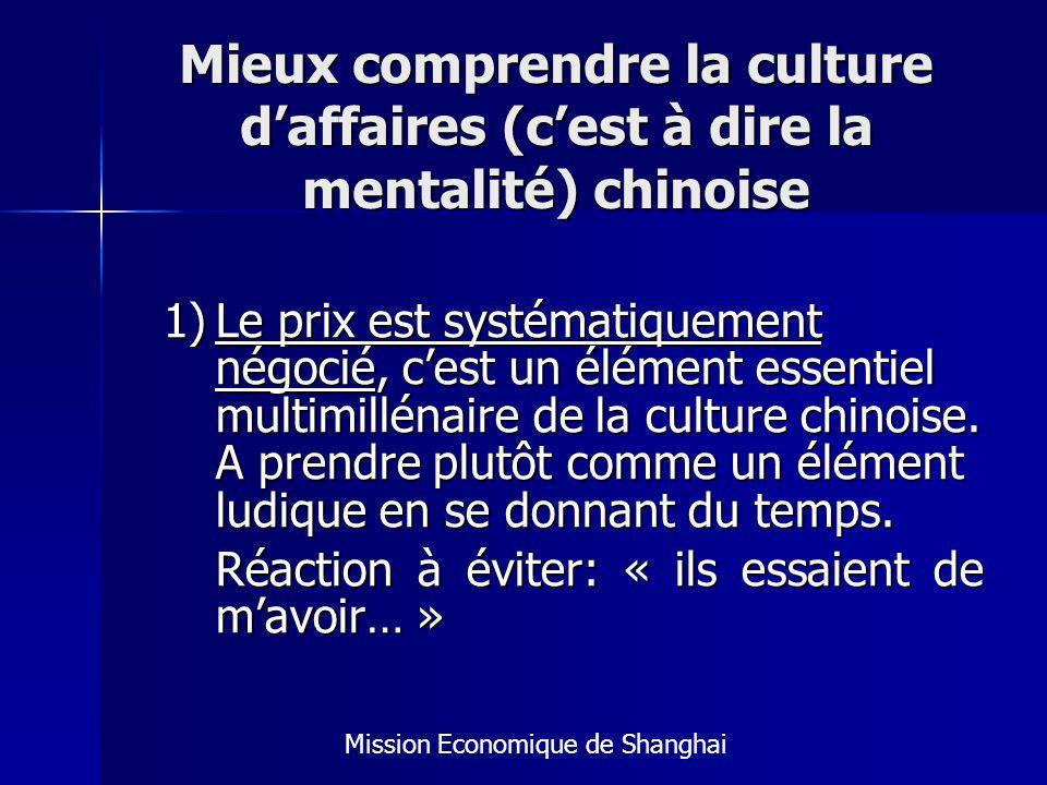 Mieux comprendre la culture daffaires (cest à dire la mentalité) chinoise 1)Le prix est systématiquement négocié, cest un élément essentiel multimillénaire de la culture chinoise.