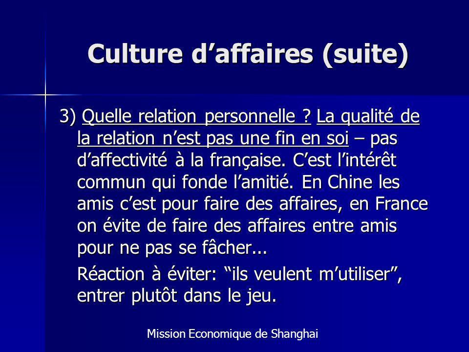 Culture daffaires (suite) 3) Quelle relation personnelle .