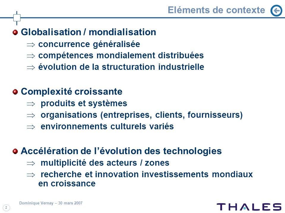 Dominique Vernay – 30 mars 2007 2 Eléments de contexte Globalisation / mondialisation concurrence généralisée compétences mondialement distribuées évo