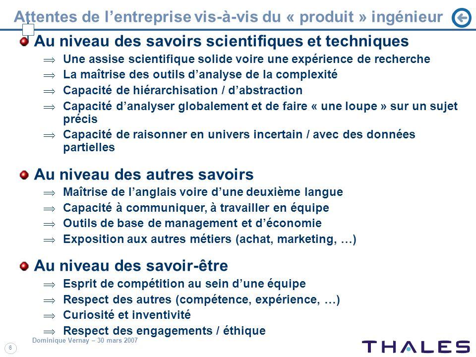 Dominique Vernay – 30 mars 2007 6 Attentes de lentreprise vis-à-vis du « produit » ingénieur Au niveau des savoirs scientifiques et techniques Une ass