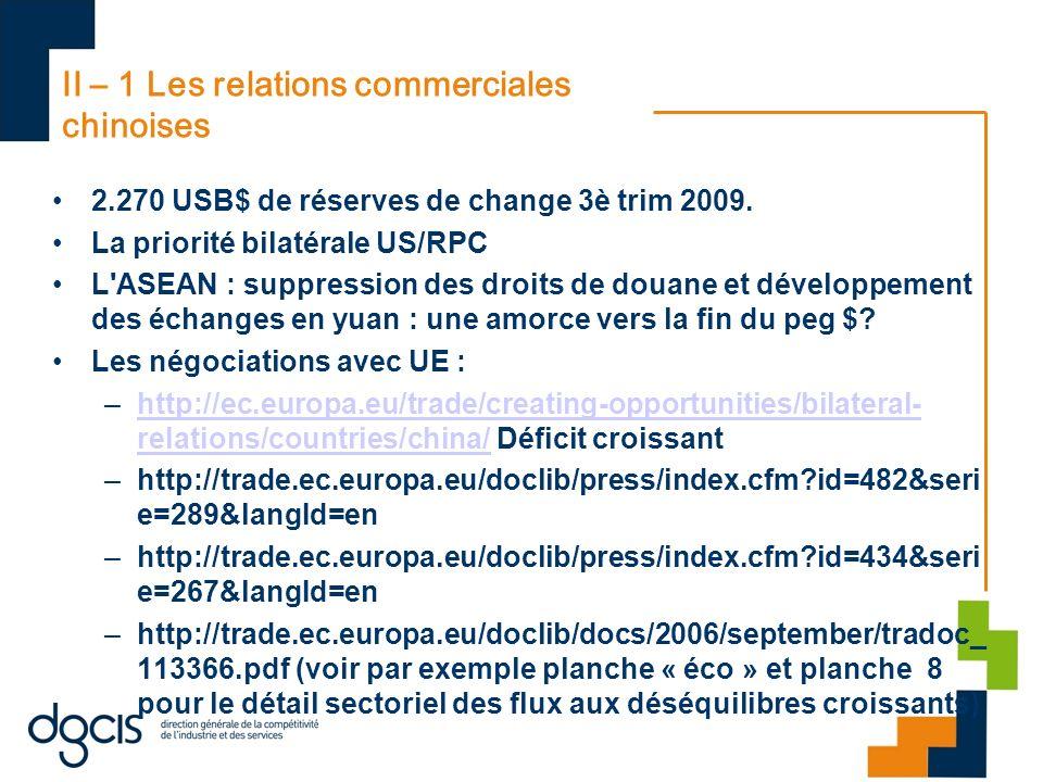 II – 1 Les relations commerciales chinoises 2.270 USB$ de réserves de change 3è trim 2009. La priorité bilatérale US/RPC L'ASEAN : suppression des dro