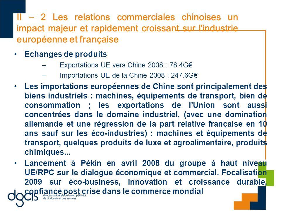 II – 2 Les relations commerciales chinoises un impact majeur et rapidement croissant sur l'industrie européenne et française Echanges de produits –Exp