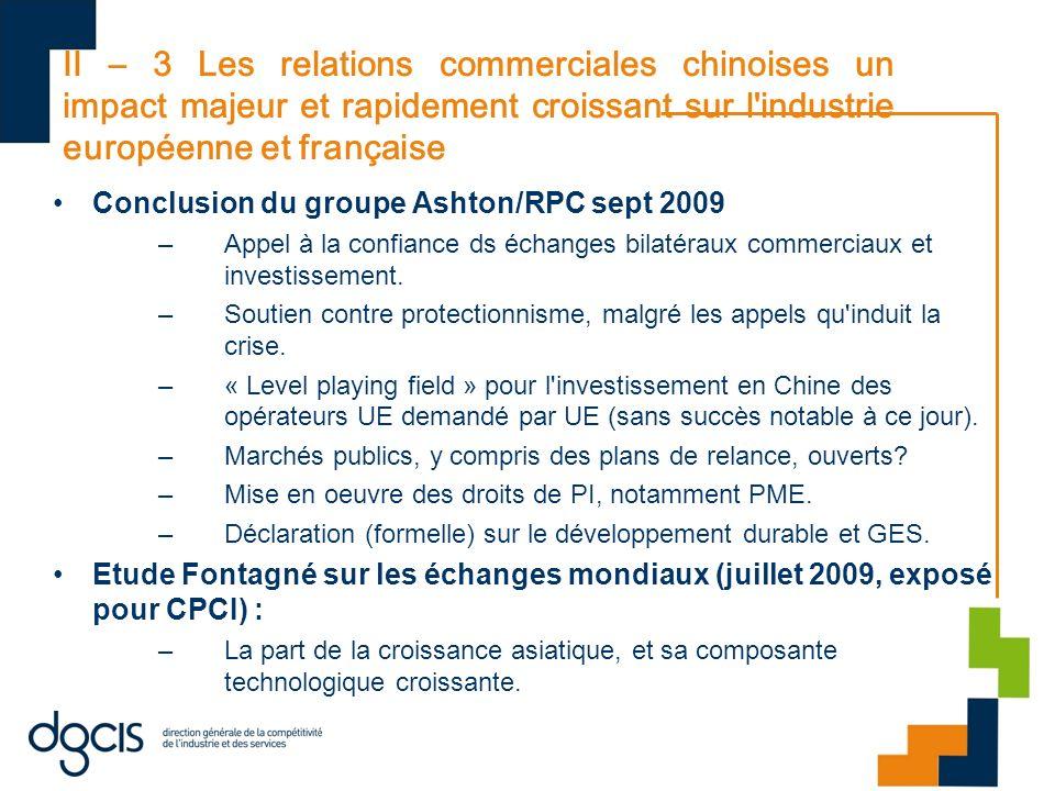 II – 3 Les relations commerciales chinoises un impact majeur et rapidement croissant sur l'industrie européenne et française Conclusion du groupe Asht
