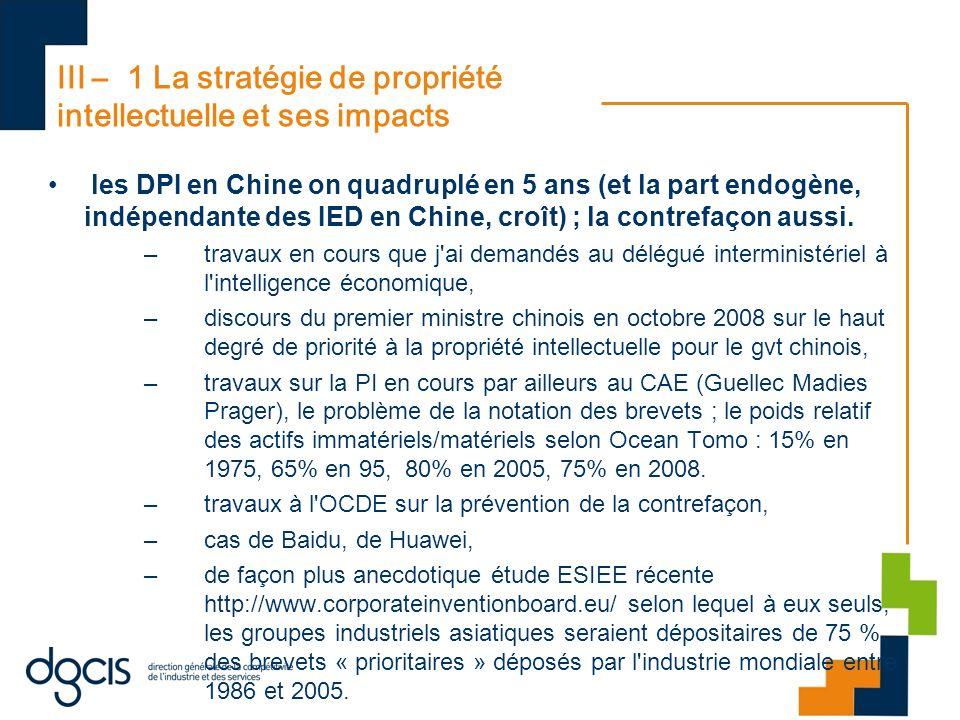 III – 1 La stratégie de propriété intellectuelle et ses impacts les DPI en Chine on quadruplé en 5 ans (et la part endogène, indépendante des IED en C