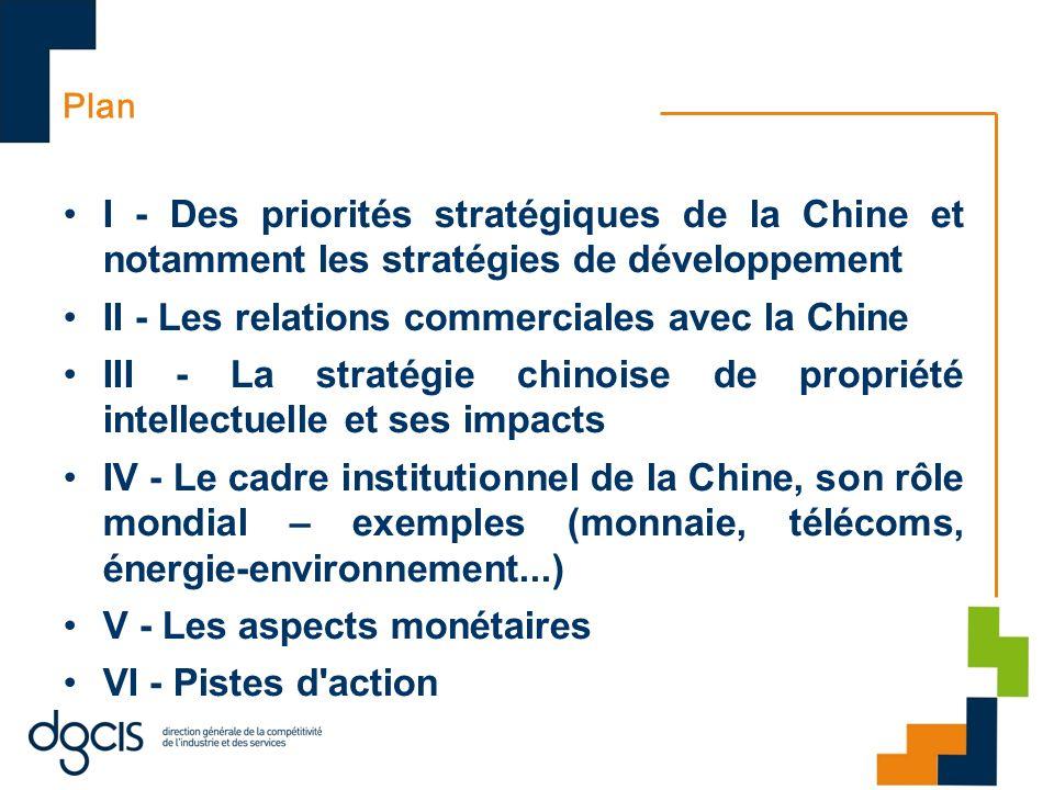 I-1 Priorités stratégiques chinoises Géographiques : –ASEAN, Proximité ; USA, UE, Afrique, Asie centrale ; Taiwan Sectorielles : –45 secteurs protégés au regard des TRIMs –Auto, aéro, éco-industries, TIC, ferroviaire, nucléaire & éco- industries, défense D investissements –CIC ; R&DT + innovation ; plan de relance de 2009 ; infrastructures Répartition des fruits de la croissance –Enjeux am territoire, vieillissement, croissance interne, envir..