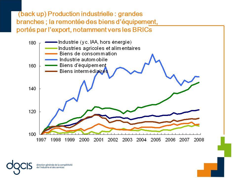 (back up) Production industrielle : grandes branches ; la remontée des biens déquipement, portés par lexport, notamment vers les BRICs