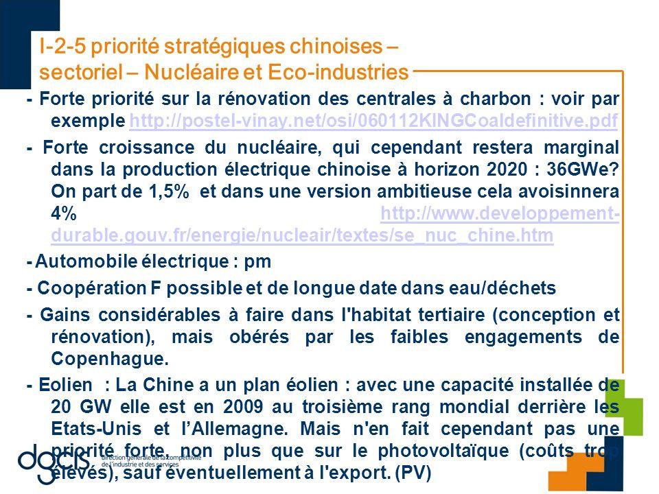 I-2-5 priorité stratégiques chinoises – sectoriel – Nucléaire et Eco-industries - Forte priorité sur la rénovation des centrales à charbon : voir par