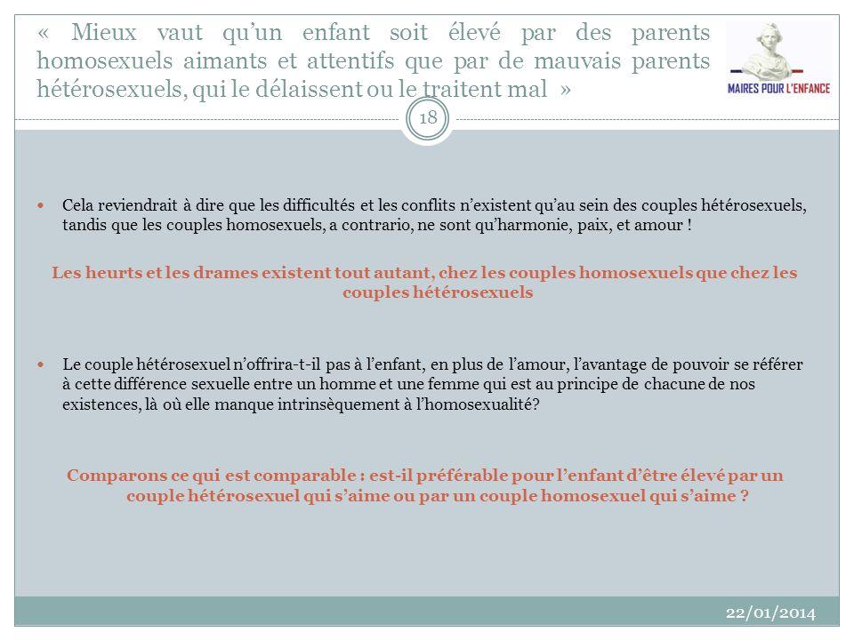 « La France est en retard sur les autres pays concernant le mariage homosexuel » 22/01/2014 19 FAUX C est même l inverse : 6 Etats sur les 27 de l UE ont étendu le mariage aux couples de même sexe.