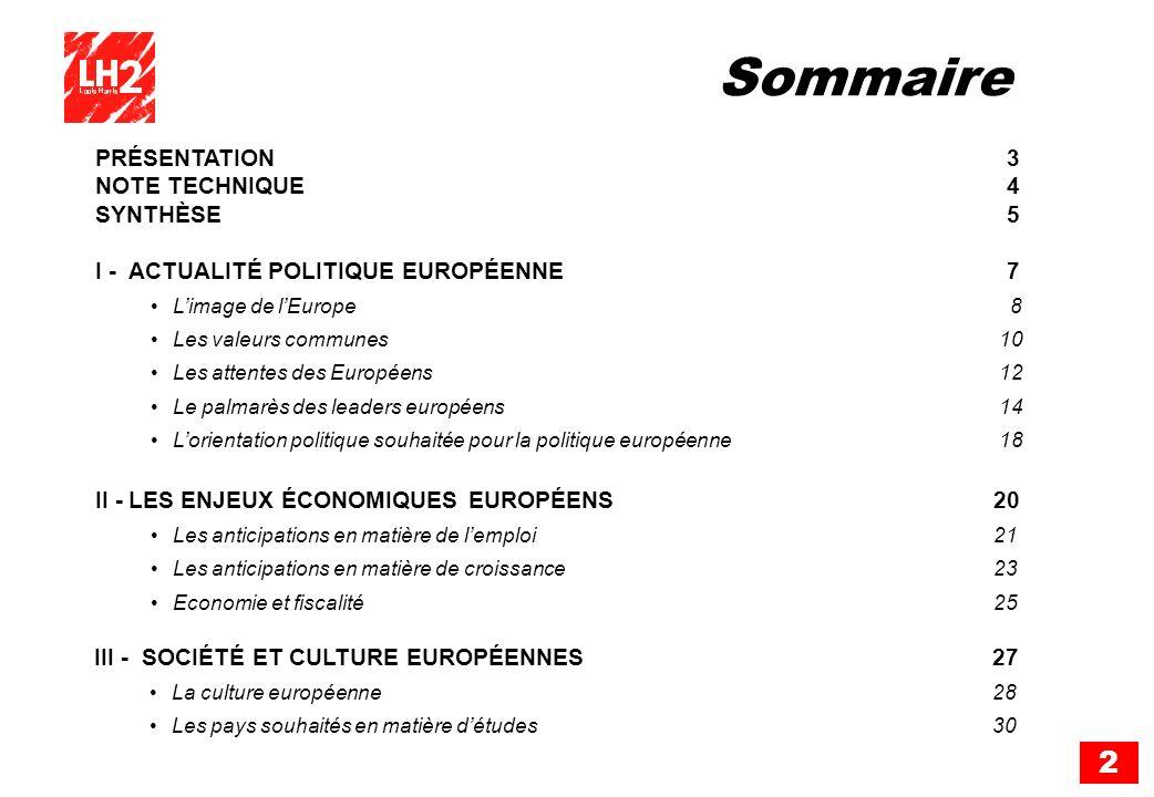 2 Sommaire PRÉSENTATION 3 NOTE TECHNIQUE 4 SYNTHÈSE 5 I -ACTUALITÉ POLITIQUE EUROPÉENNE 7 Limage de lEurope 8 Les valeurs communes 10 Les attentes des