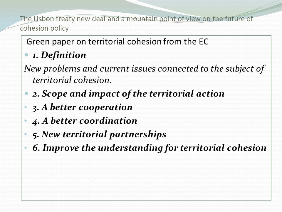 Green paper on territorial cohesion from the EC 1.