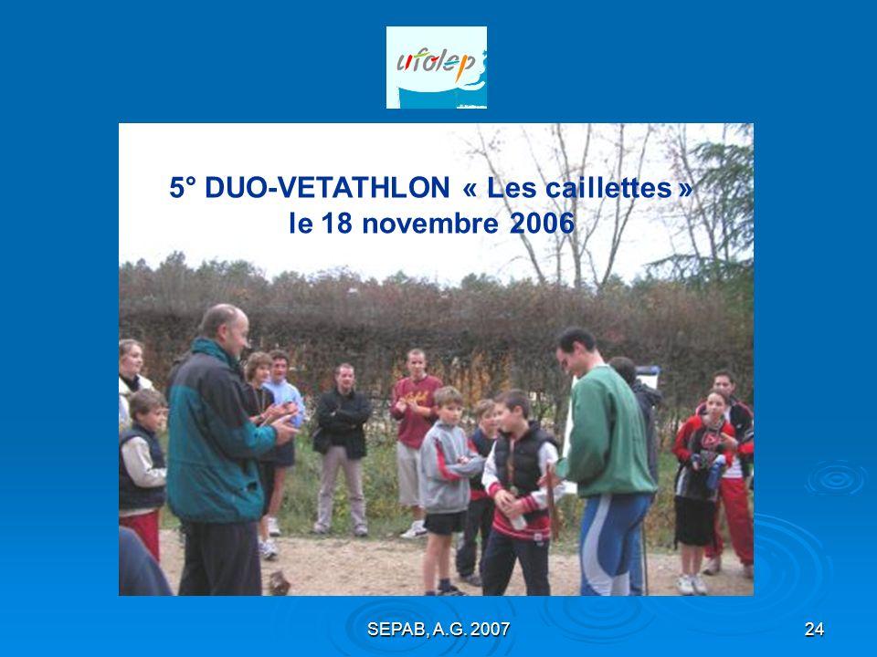 SEPAB, A.G. 200723 7° DUO-ATHLE à Bellegarde le 31 mars 2007 120 participants avec nos amis de Neuville aux bois