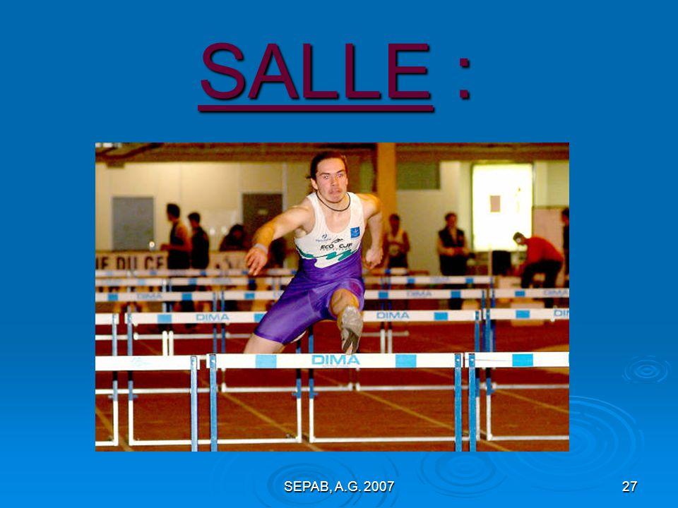 SEPAB, A.G. 200726 En F.F.A. CROSS : Championnats du Loiret à Saran, 7 janvier 2007 REGIONAUX à Chartres, 21 janvier 2007 ½ finale « France » à Orléan