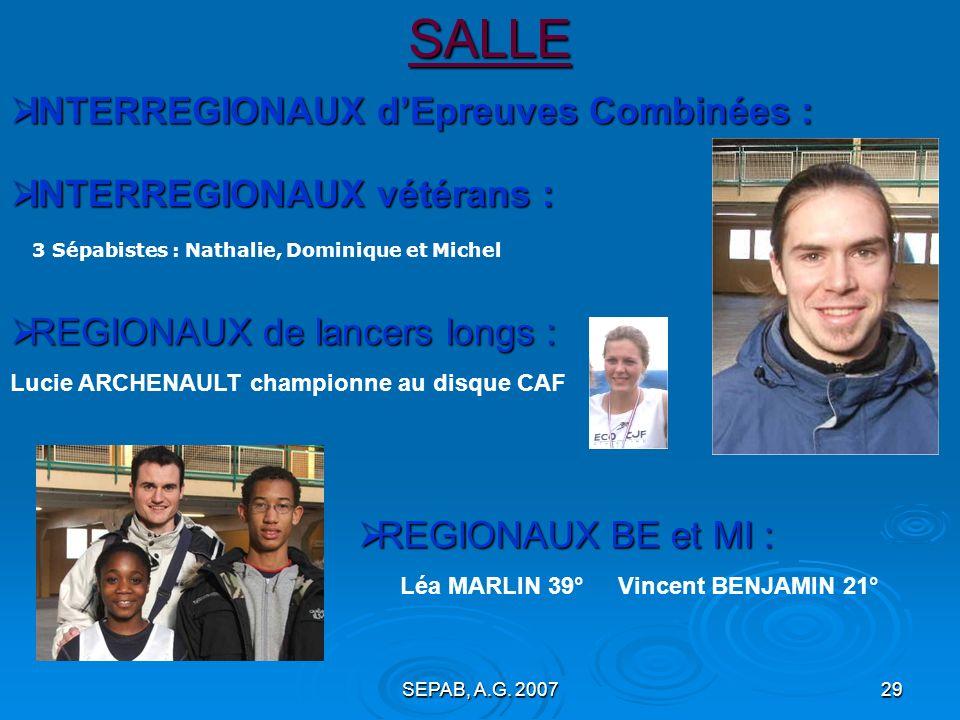 SEPAB, A.G. 200728 SALLE > Championnats REGIONAUX : > Qualification aux Championnats REGIONAUX … Marine Sandra Nathalie Baptiste Etienne