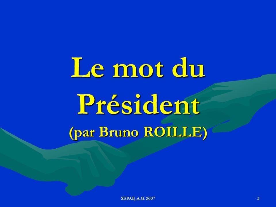 SEPAB, A.G. 20072 Ordre du jour Le mot du président (Bruno R) ; Rapport moral (MR) Bilan financier (Pascal M) Bilan sportif : Ecole Athlé, Loisirs, Uf