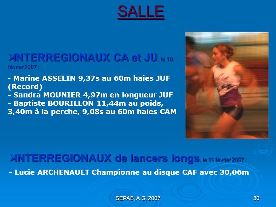 SEPAB, A.G. 200729SALLE REGIONAUX de lancers longs : REGIONAUX de lancers longs : Lucie ARCHENAULT championne au disque CAF INTERREGIONAUX dEpreuves C