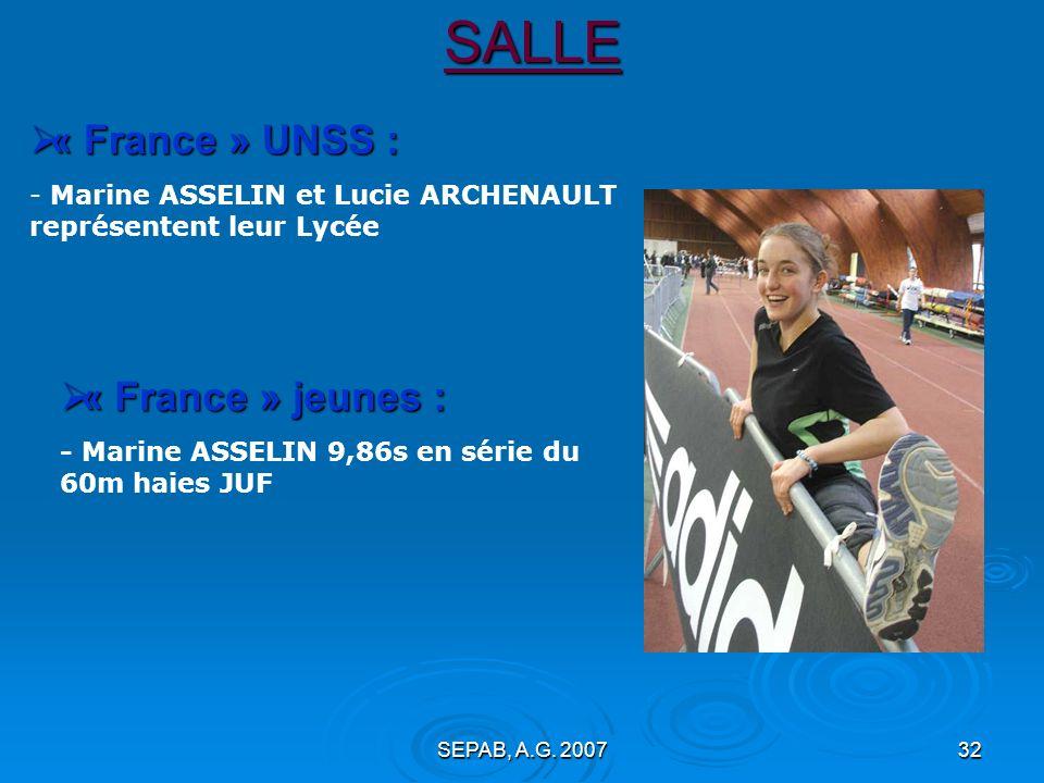 SEPAB, A.G. 200731 SALLE : Nathalie BOURREAU : 7° en longueur F40 avec 4,18m Championnats de France vétérans (18 février, Vittel) : En critériums : Mi