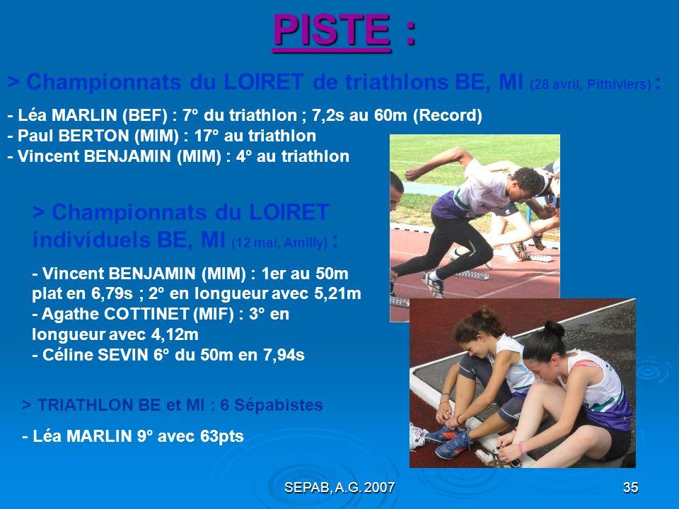 SEPAB, A.G. 200734 PISTE : Championnats de FRANCE de RELAIS (Evry, le 14 octobre) : - Marine ASSELIN et Sandra MOUNIER dans le 4x100m de lECO-CJF 9° e