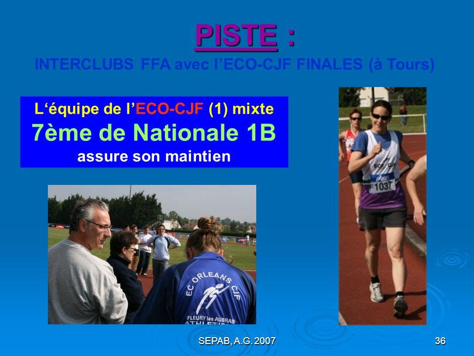 SEPAB, A.G. 200735 PISTE : > Championnats du LOIRET de triathlons BE, MI (28 avril, Pithiviers) : - Léa MARLIN (BEF) : 7° du triathlon ; 7,2s au 60m (