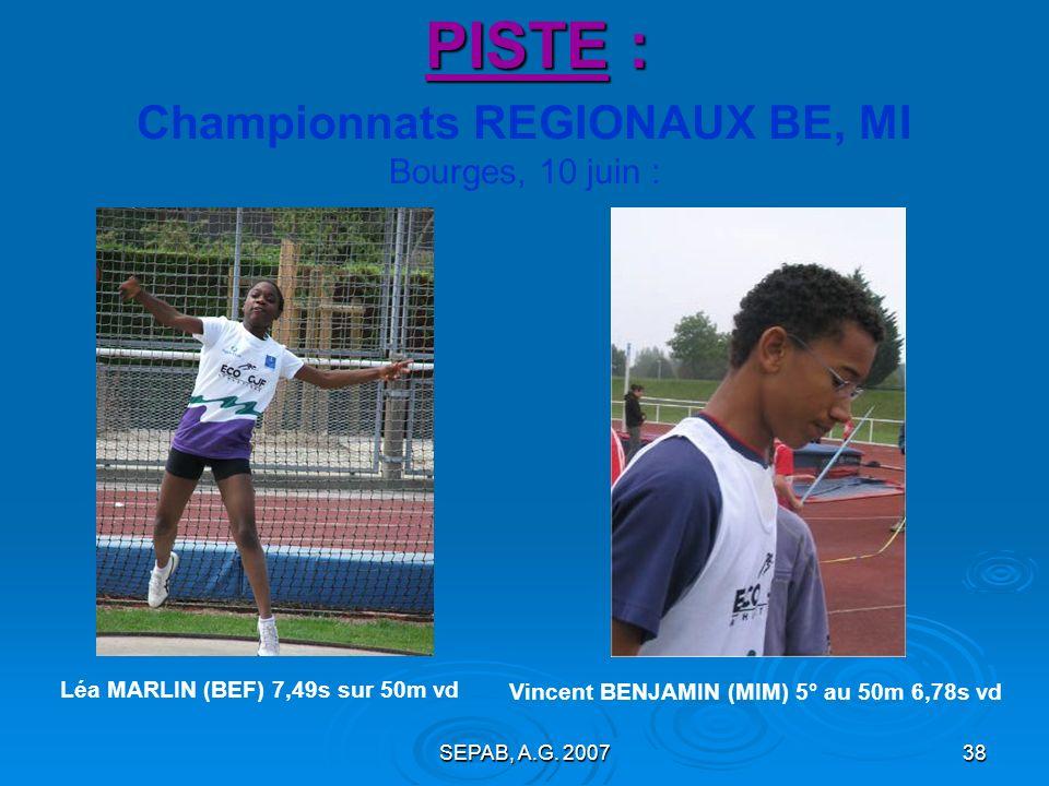 SEPAB, A.G. 200737 PISTE : Championnats du Loiret MI, CA, JU, ES, SE, VE Gien et Amilly, 26 mai et 2 juin : 7 Sépabistes : 1 titre Lucie ARCHENAULT au