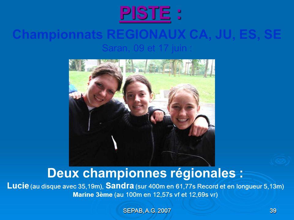 SEPAB, A.G. 200738 Championnats REGIONAUX BE, MI Bourges, 10 juin : PISTE : Léa MARLIN (BEF) 7,49s sur 50m vd Vincent BENJAMIN (MIM) 5° au 50m 6,78s v