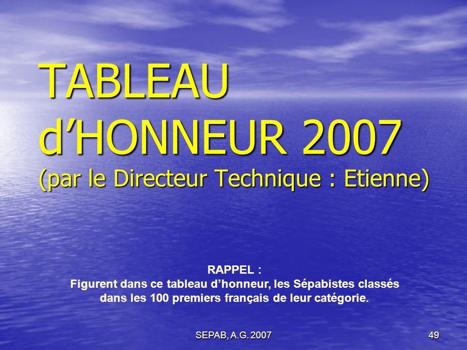 SEPAB, A.G. 200748 Renouvellement du 1/3 sortant du COMITE de DIRECTION : RESULTATS : Sont élus (17 votants) : DOMMANGET Carole 17 voix MARLIN Christi
