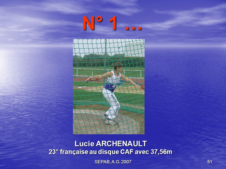 SEPAB, A.G. 200750 Marine ASSELIN 36° française au 60m haies JUF avec 9,37s N° 2 …