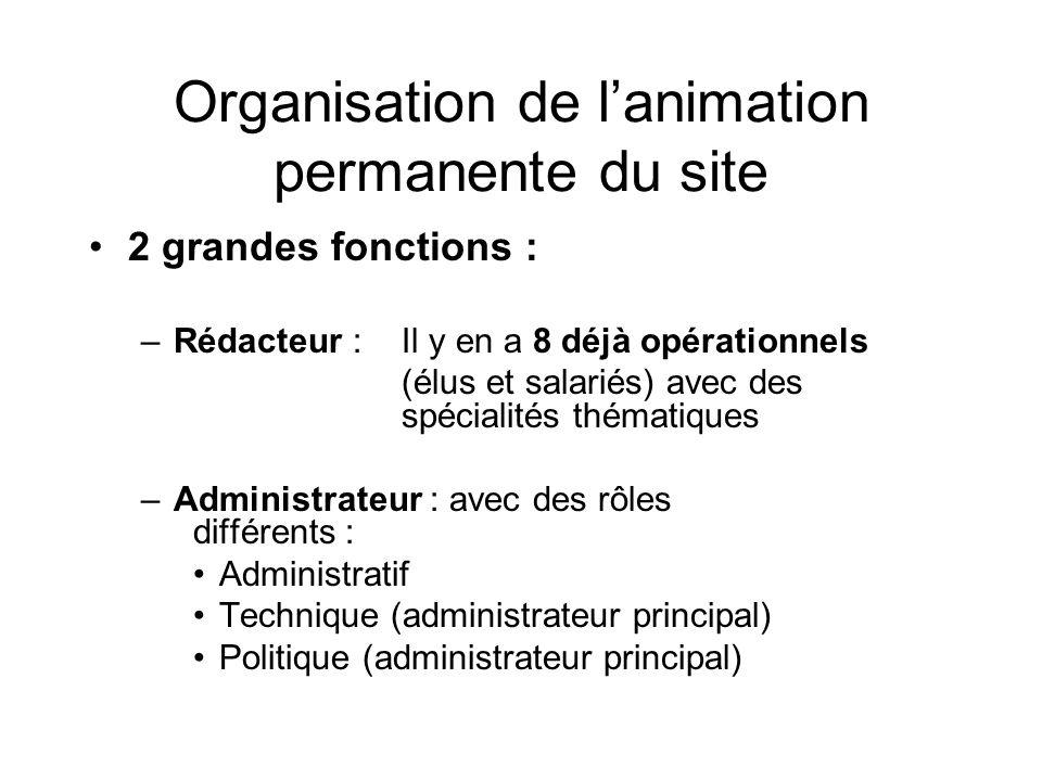 Organisation de lanimation permanente du site 2 grandes fonctions : –Rédacteur : Il y en a 8 déjà opérationnels (élus et salariés) avec des spécialité