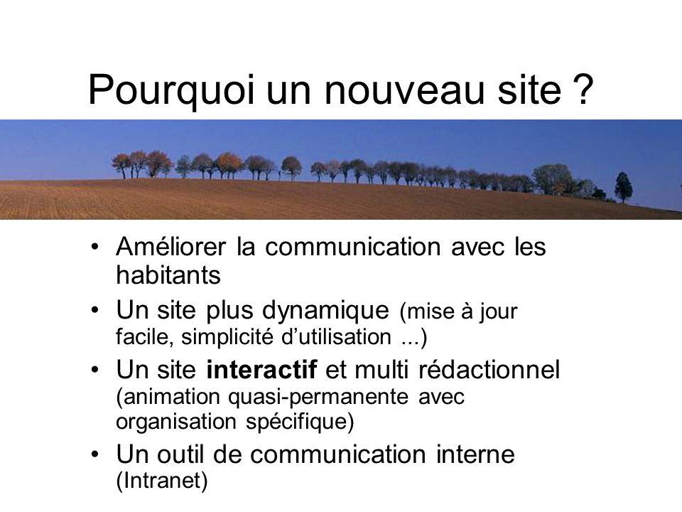 Pourquoi un nouveau site ? Améliorer la communication avec les habitants Un site plus dynamique (mise à jour facile, simplicité dutilisation...) Un si