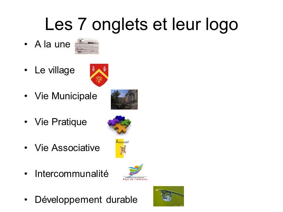 Les 7 onglets et leur logo A la une Le village Vie Municipale Vie Pratique Vie Associative Intercommunalité Développement durable