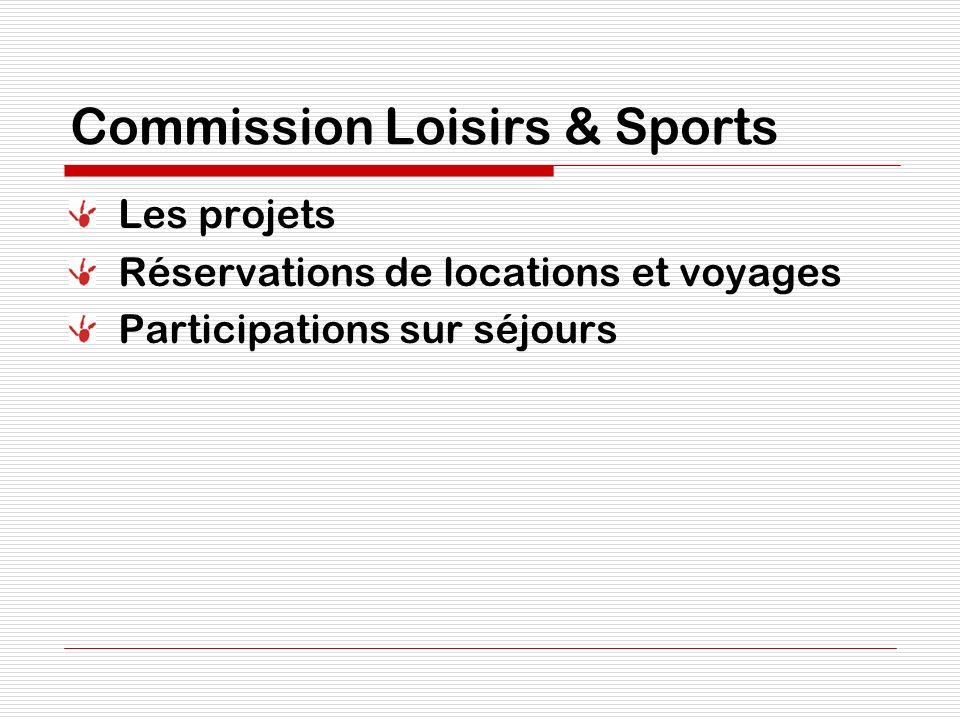 Commission Loisirs & Sports Les projets Réservations de locations et voyages Participations sur séjours