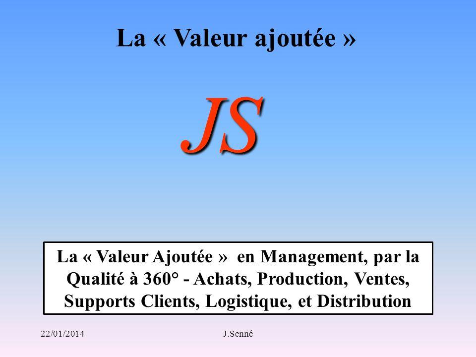 La « Valeur ajoutée » JS La « Valeur Ajoutée » en Management, par la Qualité à 360° - Achats, Production, Ventes, Supports Clients, Logistique, et Dis