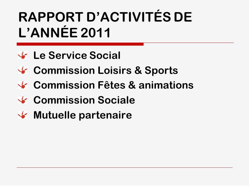 RAPPORT DACTIVITÉS DE LANNÉE 2011 Le Service Social Commission Loisirs & Sports Commission Fêtes & animations Commission Sociale Mutuelle partenaire