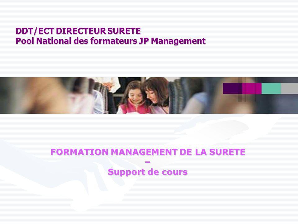Formation MANAGEMENT DE LA SÛRETE 2009 - Pool national formateurs DDT - 12 Le positionnement de la Direction Des Trains GROUPE SNCF SNCF VOYAGES DDT PROXIMITES TRANSPORTS ET LOGISTIQUE INFRASTRUCTURE INGENIERIE