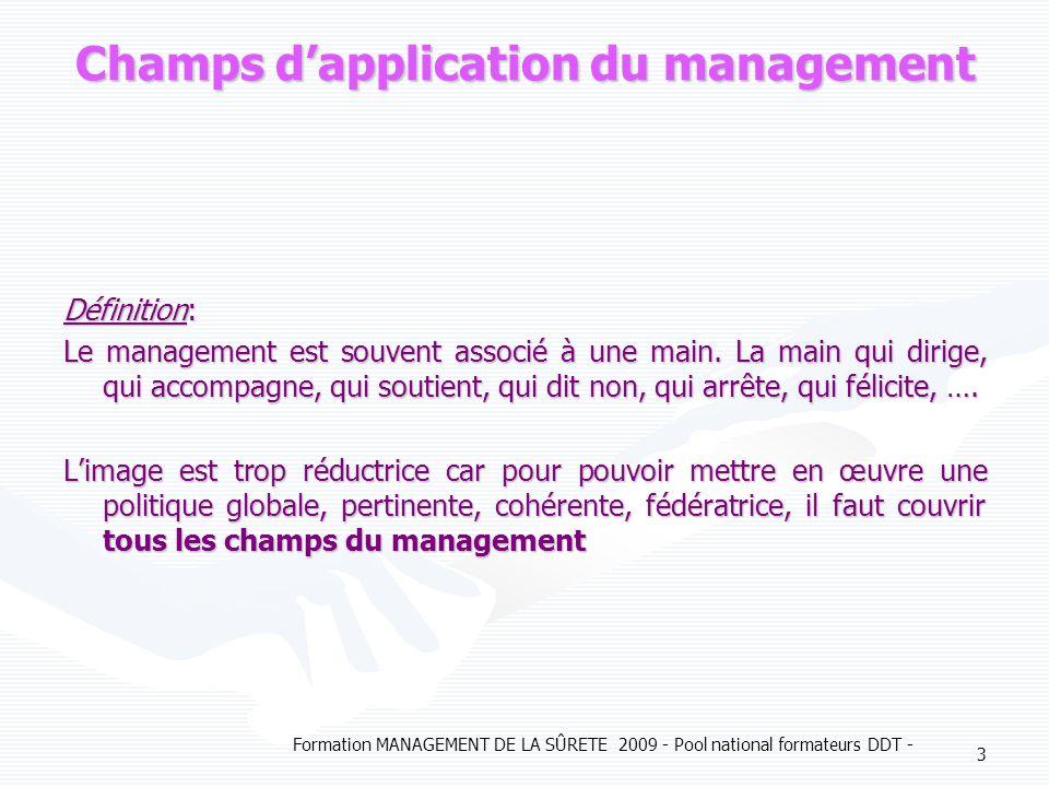 Formation MANAGEMENT DE LA SÛRETE 2009 - Pool national formateurs DDT - 3 Champs dapplication du management Définition: Le management est souvent asso