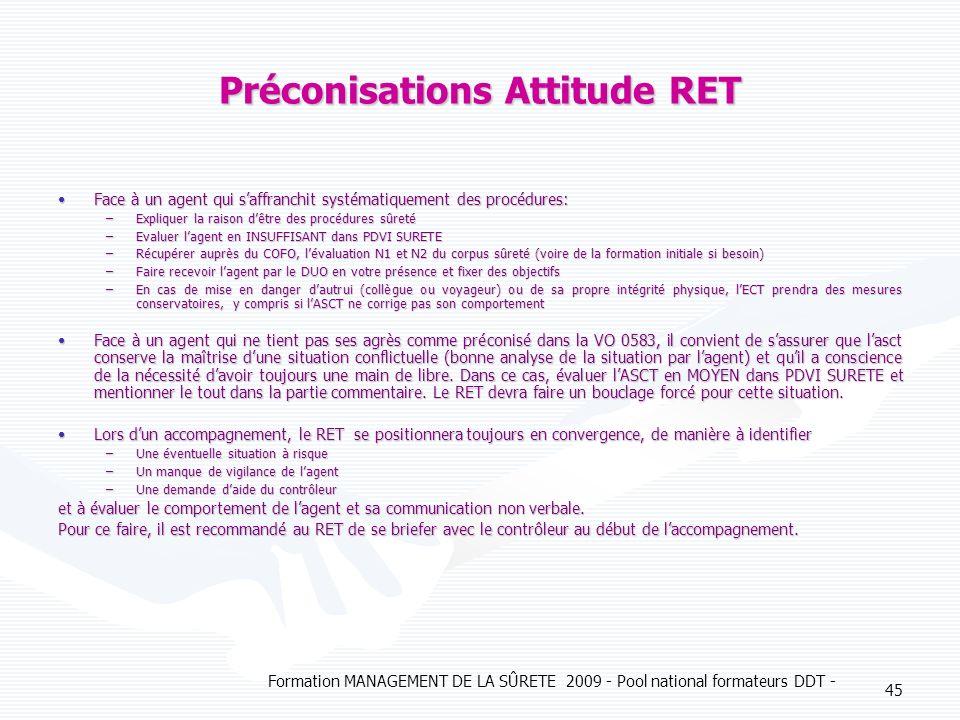 Formation MANAGEMENT DE LA SÛRETE 2009 - Pool national formateurs DDT - 45 Préconisations Attitude RET Face à un agent qui saffranchit systématiquemen