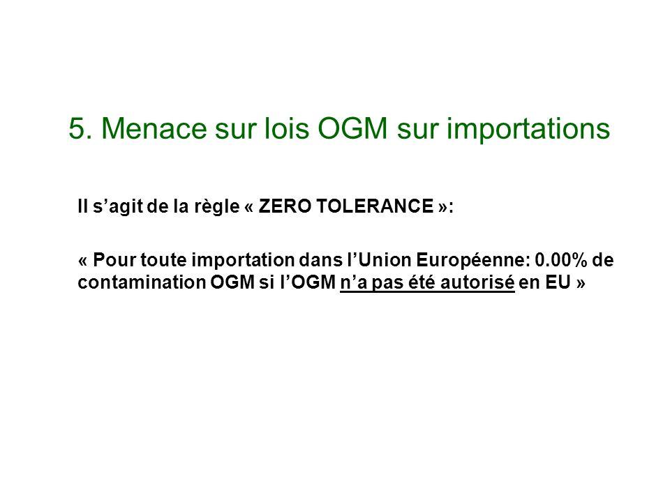 5. Menace sur lois OGM sur importations Il sagit de la règle « ZERO TOLERANCE »: « Pour toute importation dans lUnion Européenne: 0.00% de contaminati
