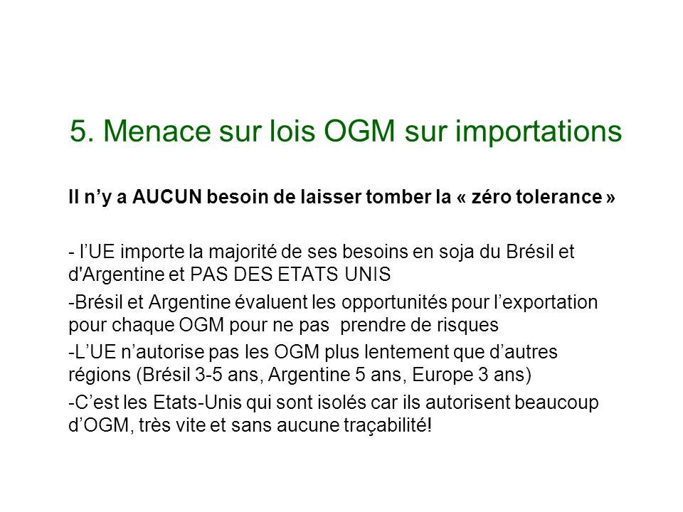 5. Menace sur lois OGM sur importations Il ny a AUCUN besoin de laisser tomber la « zéro tolerance » - lUE importe la majorité de ses besoins en soja