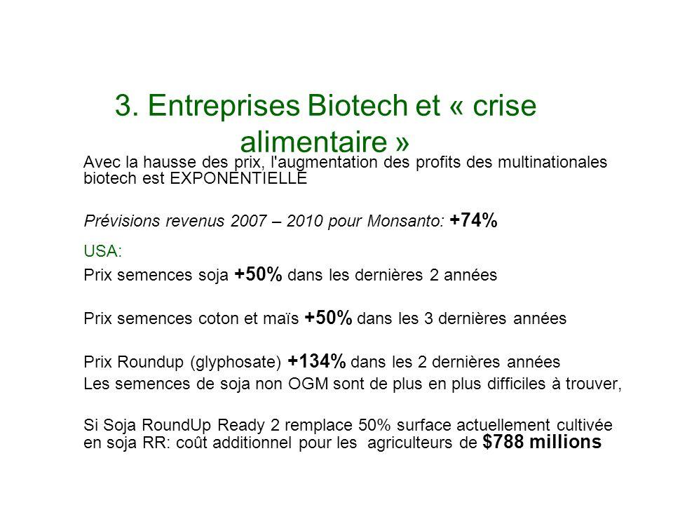 3. Entreprises Biotech et « crise alimentaire » Avec la hausse des prix, l'augmentation des profits des multinationales biotech est EXPONENTIELLE Prév