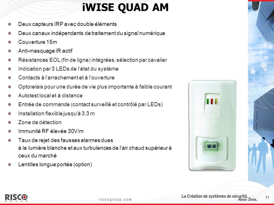 11 iWISE QUAD AM Deux capteurs IRP avec double éléments Deux canaux indépendants de traitement du signal numérique Couverture 15m Anti-masquage IR act