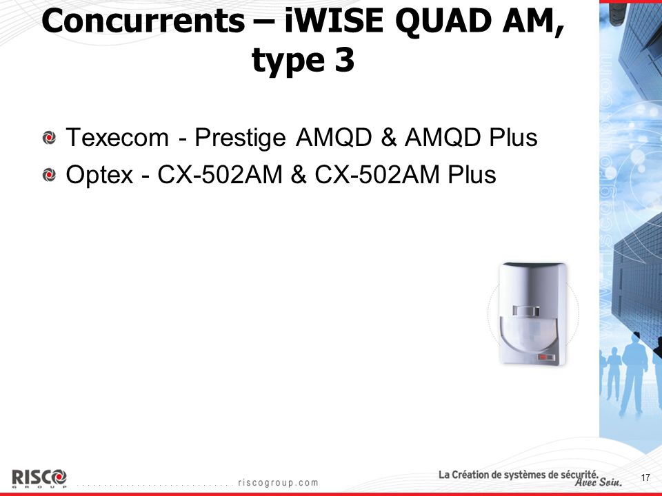17 Concurrents – iWISE QUAD AM, type 3 Texecom - Prestige AMQD & AMQD Plus Optex - CX-502AM & CX-502AM Plus