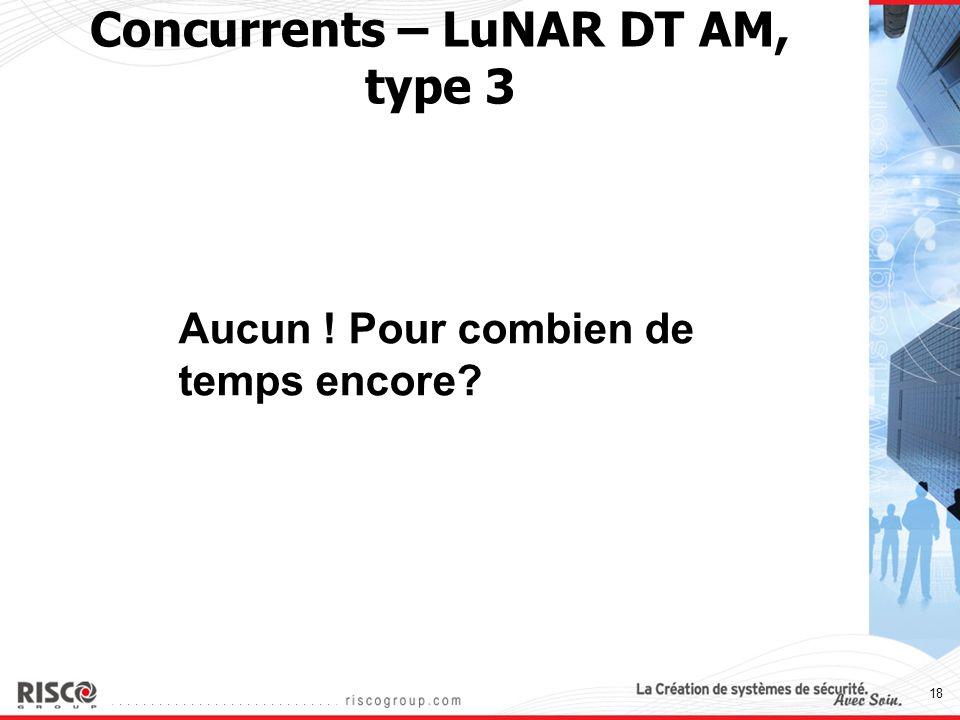18 Concurrents – LuNAR DT AM, type 3 Aucun ! Pour combien de temps encore?